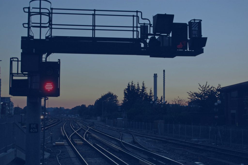 Rail Signals at sunset