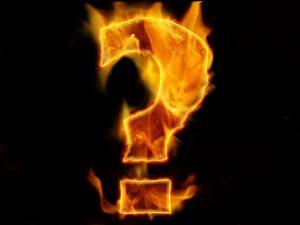 question, question mark, fire